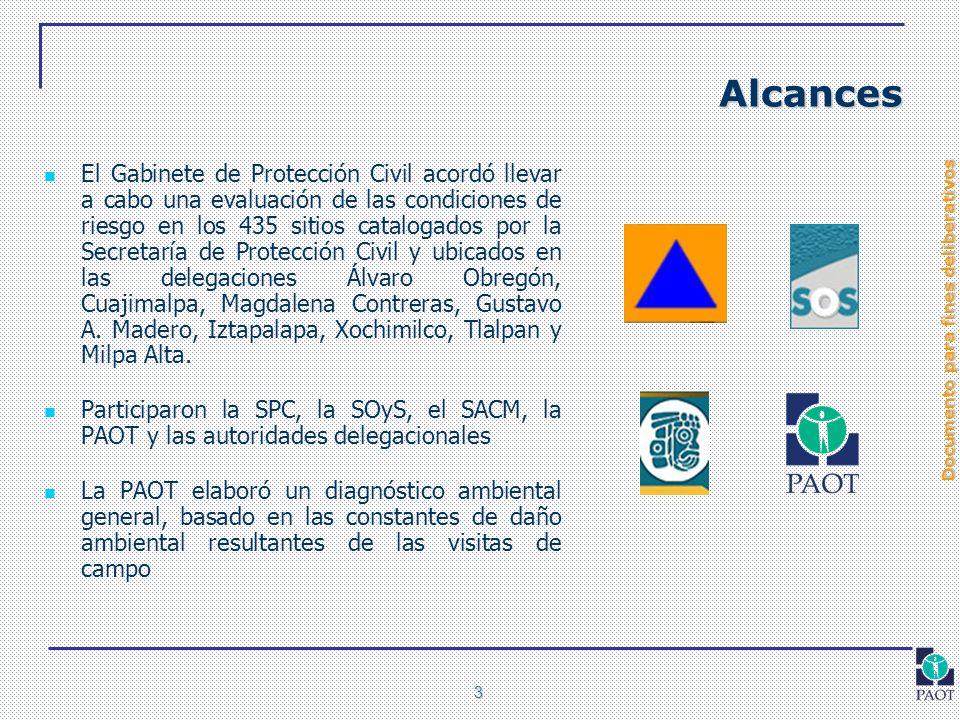 Documento para fines deliberativos 3 Alcances El Gabinete de Protección Civil acordó llevar a cabo una evaluación de las condiciones de riesgo en los