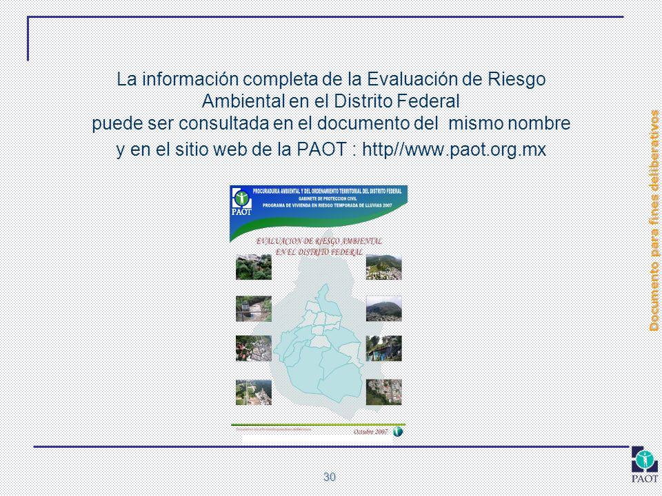 Documento para fines deliberativos 30 La información completa de la Evaluación de Riesgo Ambiental en el Distrito Federal puede ser consultada en el d