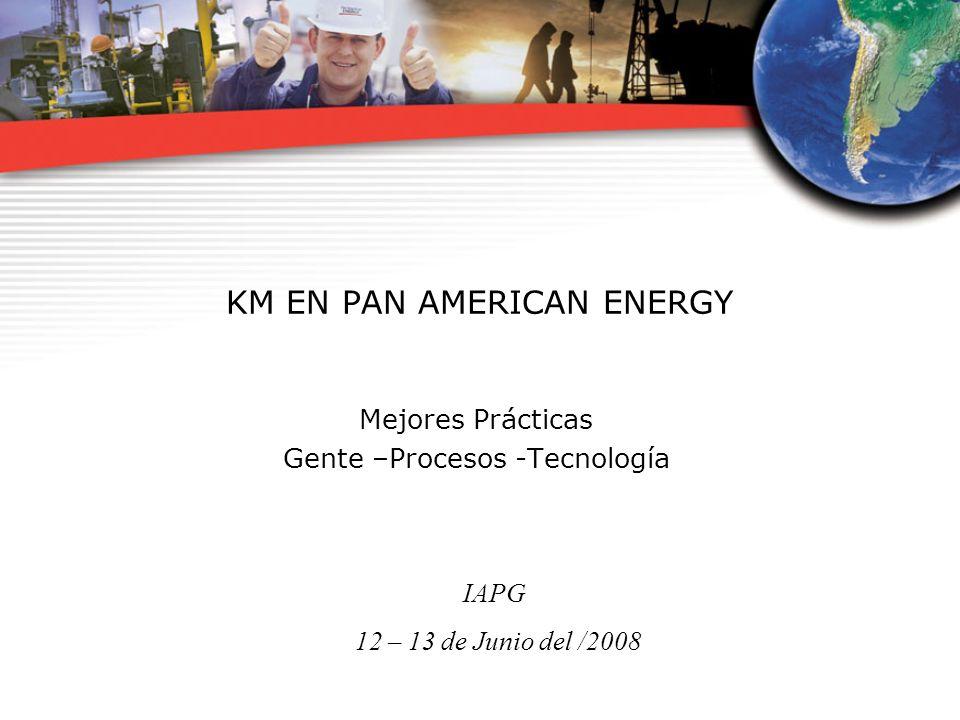 IAPG 12 – 13 de Junio del /2008 KM EN PAN AMERICAN ENERGY Mejores Prácticas Gente –Procesos -Tecnología