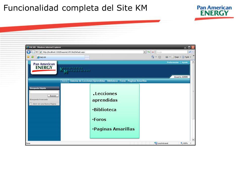 Funcionalidad completa del Site KM - Lecciones aprendidas -Biblioteca -Foros -Paginas amarillas. Lecciones aprendidas Biblioteca Foros Paginas Amarill