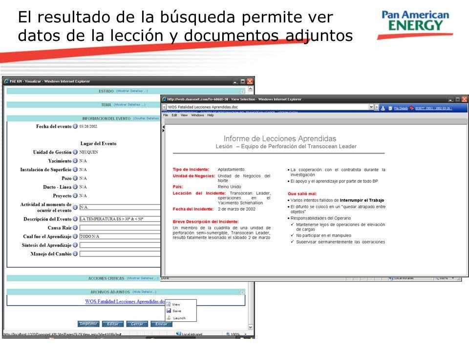El resultado de la búsqueda permite ver datos de la lección y documentos adjuntos