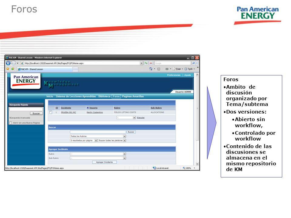 Foros Ambito de discusión organizado por Tema/subtema Dos versiones: Abierto sin workflow, Controlado por workflow Contenido de las discusiones se alm