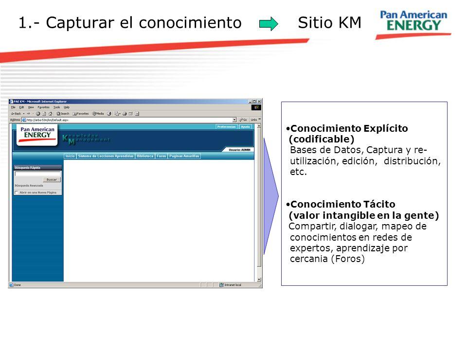 1.- Capturar el conocimientoSitio KM Conocimiento Explícito (codificable) Bases de Datos, Captura y re- utilización, edición, distribución, etc. Conoc