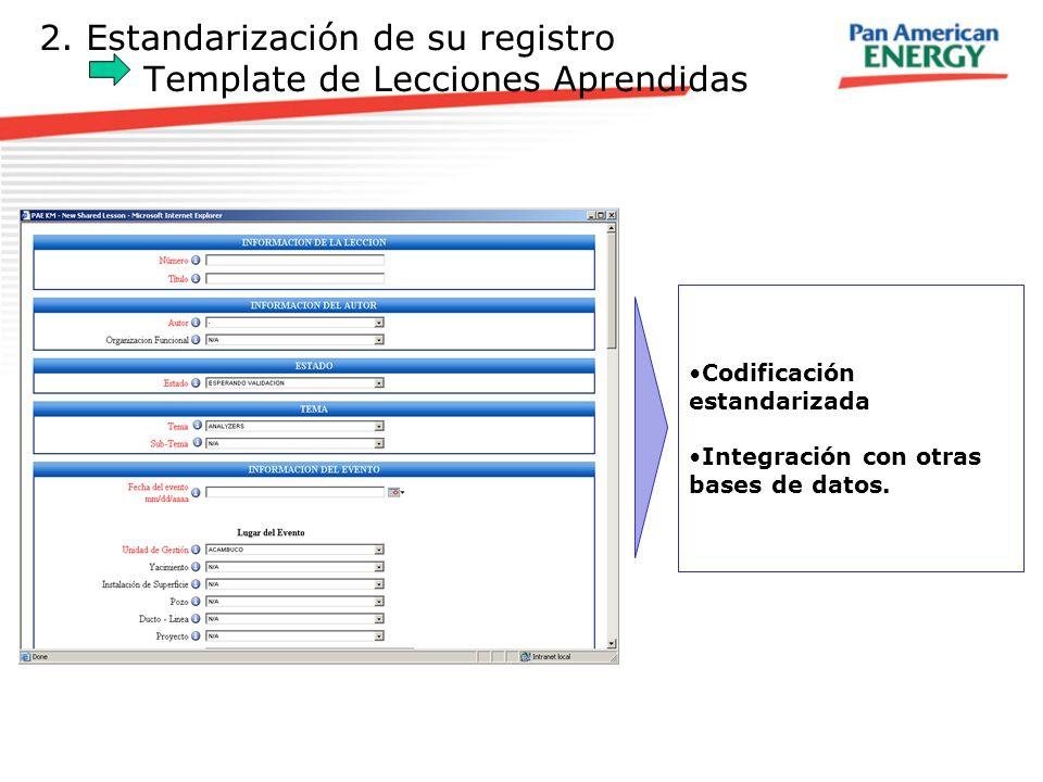 2. Estandarización de su registro Template de Lecciones Aprendidas Codificación estandarizada Integración con otras bases de datos.