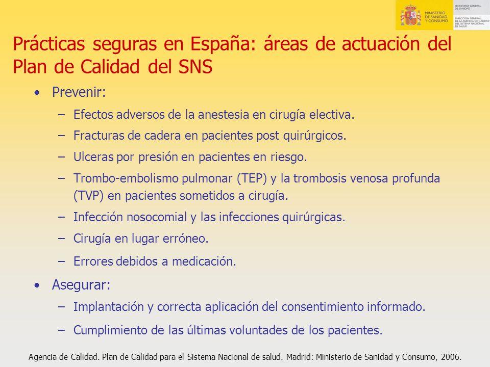 Prácticas seguras en España: áreas de actuación del Plan de Calidad del SNS Prevenir: –Efectos adversos de la anestesia en cirugía electiva. –Fractura