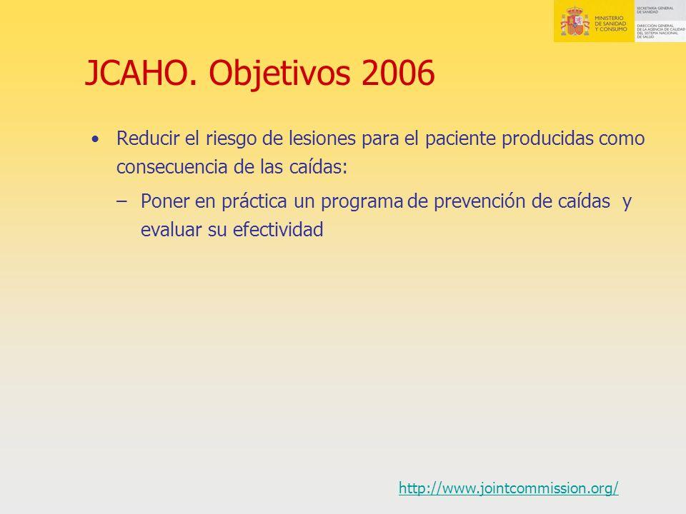 JCAHO. Objetivos 2006 Reducir el riesgo de lesiones para el paciente producidas como consecuencia de las caídas: –Poner en práctica un programa de pre