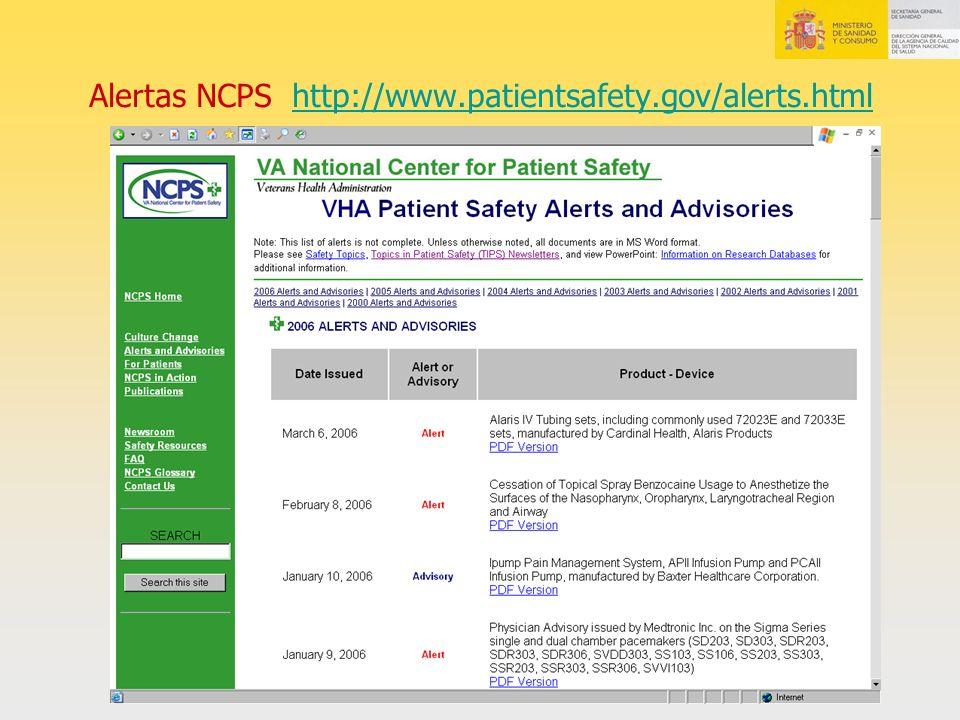 Alertas NCPS http://www.patientsafety.gov/alerts.htmlhttp://www.patientsafety.gov/alerts.html