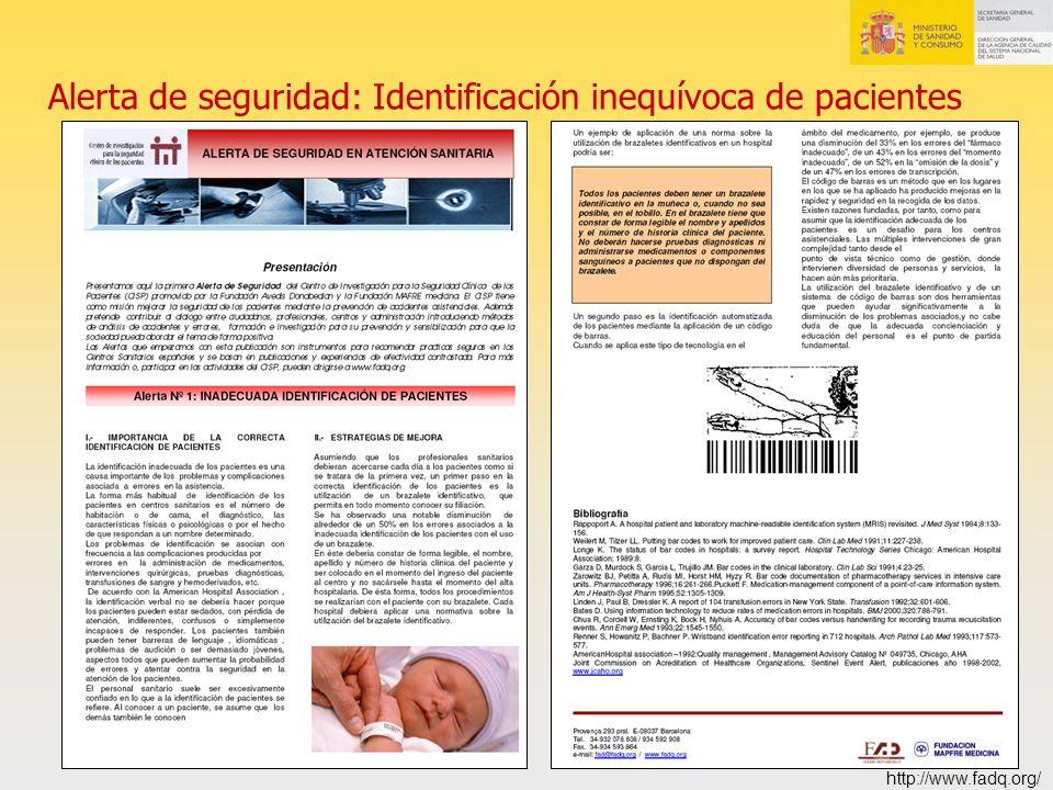 Alerta de seguridad: Identificación inequívoca de pacientes http://www.fadq.org/