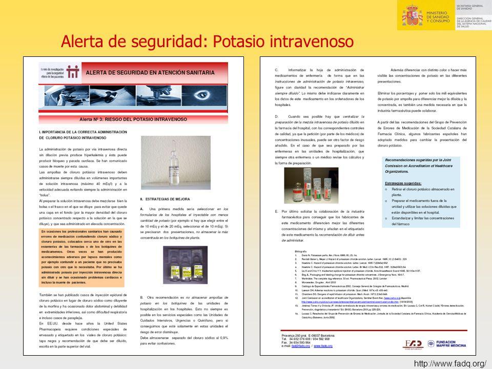 Alerta de seguridad: Potasio intravenoso http://www.fadq.org/