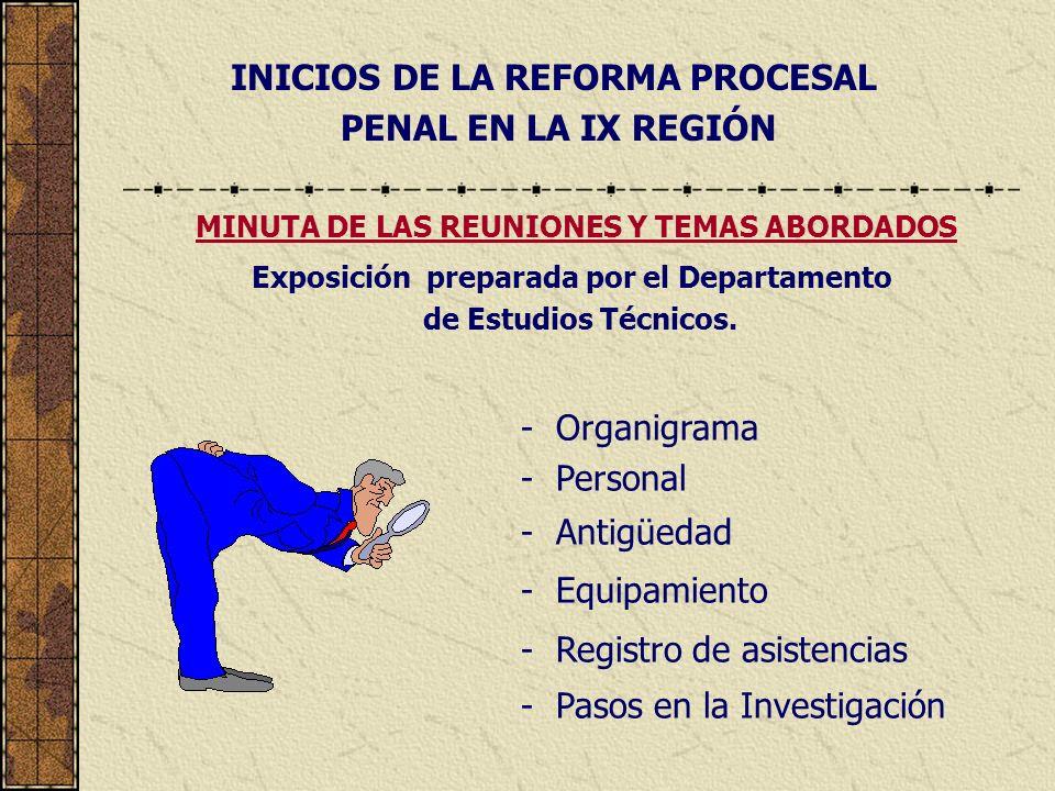 INICIOS DE LA REFORMA PROCESAL PENAL EN LA IX REGIÓN - Organigrama - Personal - Antigüedad - Equipamiento - Registro de asistencias - Pasos en la Inve