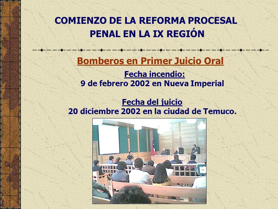 COMIENZO DE LA REFORMA PROCESAL PENAL EN LA IX REGIÓN Bomberos en Primer Juicio Oral Fecha incendio: 9 de febrero 2002 en Nueva Imperial Fecha del jui