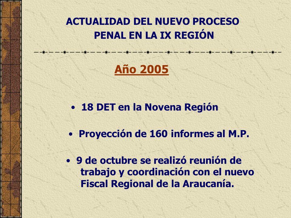 ACTUALIDAD DEL NUEVO PROCESO PENAL EN LA IX REGIÓN Año 2005 18 DET en la Novena Región Proyección de 160 informes al M.P.
