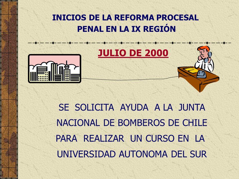 INICIOS DE LA REFORMA PROCESAL PENAL EN LA IX REGIÓN SE SOLICITA AYUDA A LA JUNTA NACIONAL DE BOMBEROS DE CHILE PARA REALIZAR UN CURSO EN LA UNIVERSIDAD AUTONOMA DEL SUR JULIO DE 2000