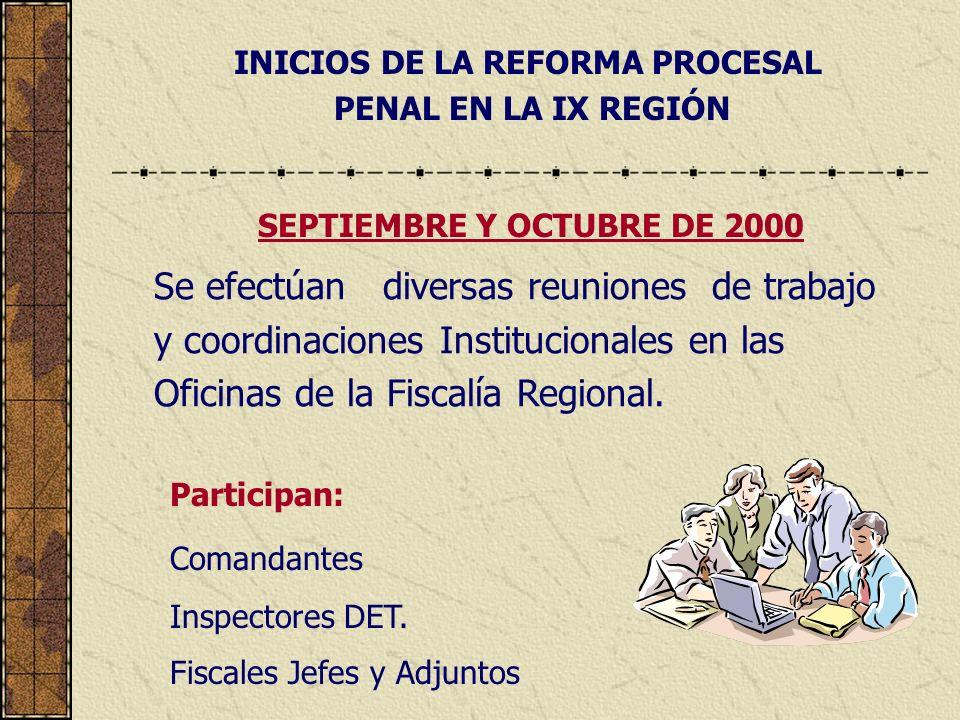 INICIOS DE LA REFORMA PROCESAL PENAL EN LA IX REGIÓN Se efectúan diversas reuniones de trabajo y coordinaciones Institucionales en las Oficinas de la