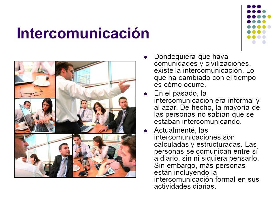 Intercomunicación Dondequiera que haya comunidades y civilizaciones, existe la intercomunicación.