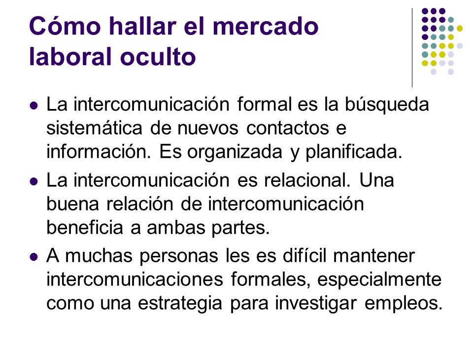Cómo hallar el mercado laboral oculto La intercomunicación formal es la búsqueda sistemática de nuevos contactos e información.
