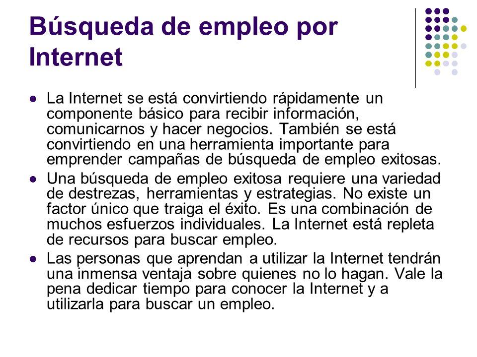 Búsqueda de empleo por Internet La Internet se está convirtiendo rápidamente un componente básico para recibir información, comunicarnos y hacer negocios.