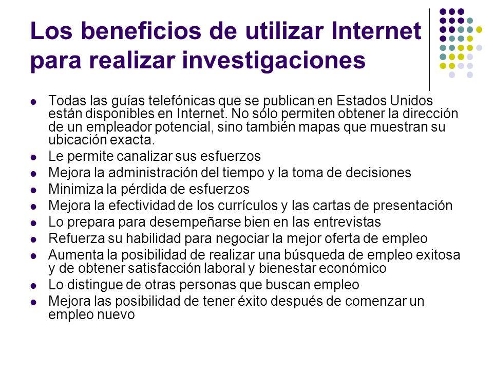 Los beneficios de utilizar Internet para realizar investigaciones Todas las guías telefónicas que se publican en Estados Unidos están disponibles en Internet.