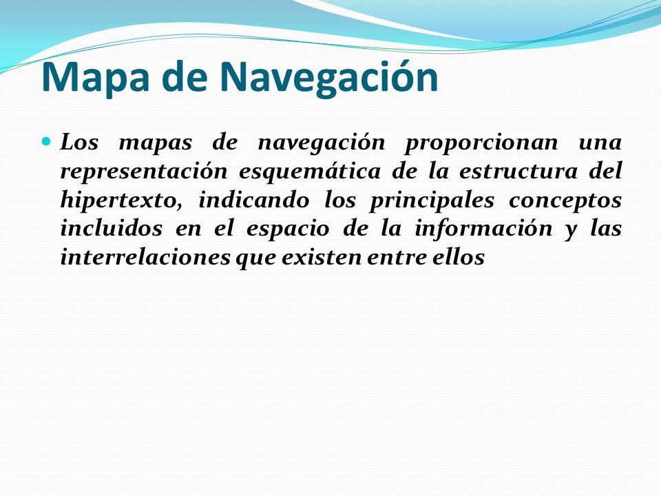 Mapa de Navegación Los mapas de navegación proporcionan una representación esquemática de la estructura del hipertexto, indicando los principales conceptos incluidos en el espacio de la información y las interrelaciones que existen entre ellos