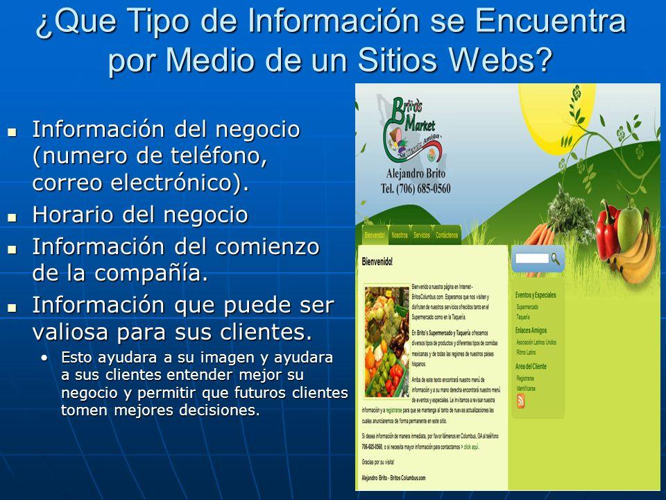 ¿Que Tipo de Información se Encuentra por Medio de un Sitios Webs.