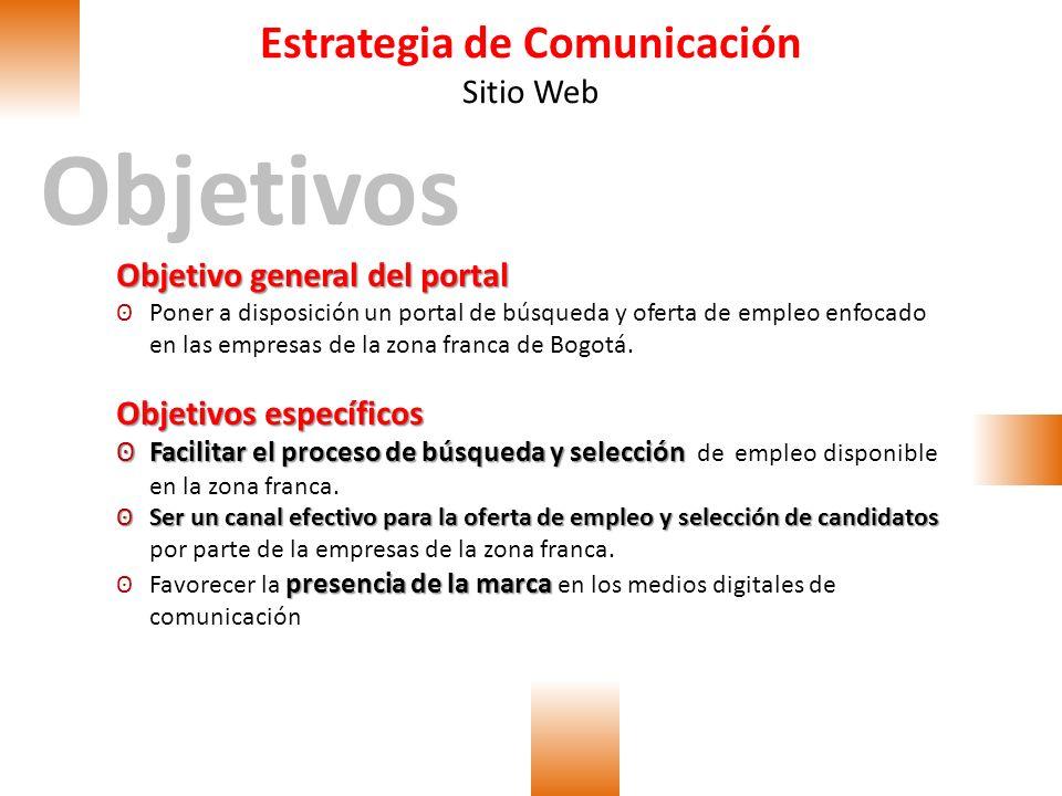 Estrategia de Comunicación Sitio Web Objetivos Objetivo general del portal ʘPoner a disposición un portal de búsqueda y oferta de empleo enfocado en l