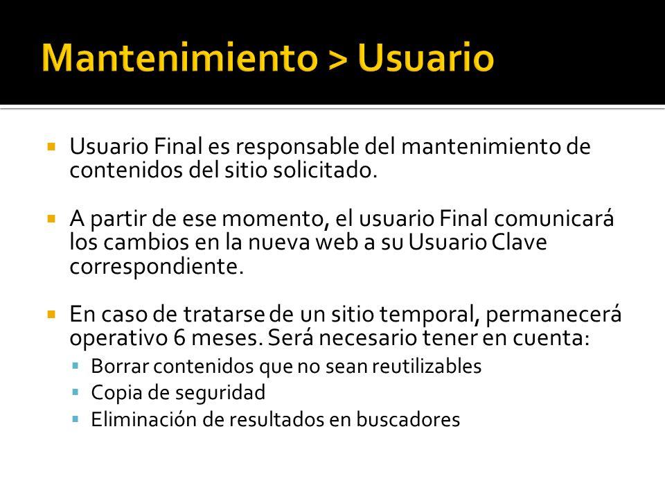 Usuario Final es responsable del mantenimiento de contenidos del sitio solicitado.