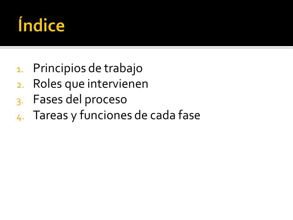 1.Principios de trabajo 2. Roles que intervienen 3.