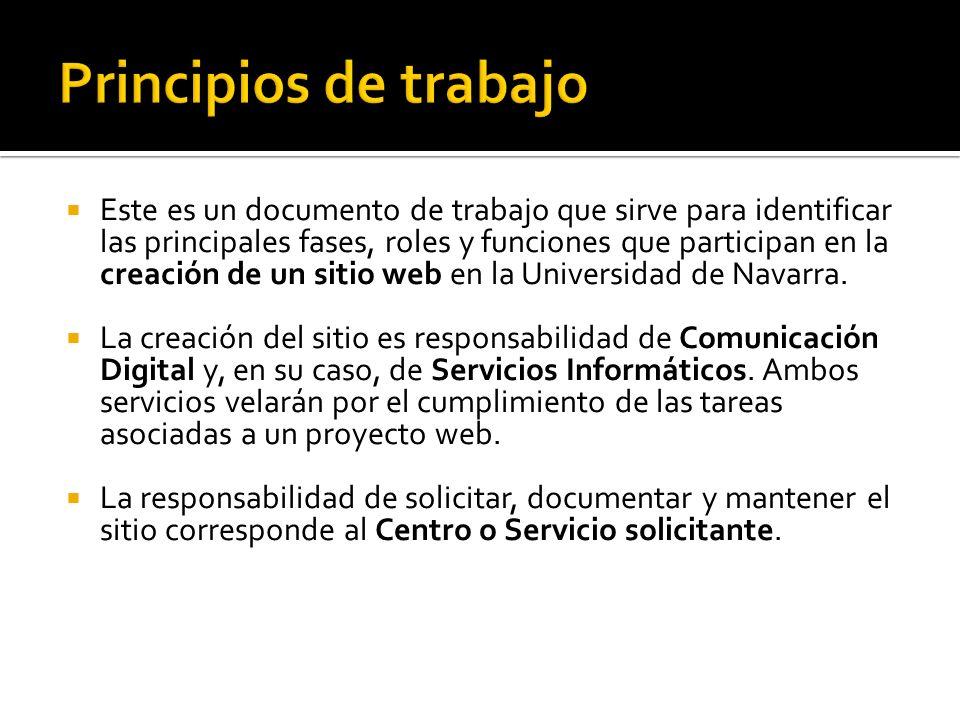 Este es un documento de trabajo que sirve para identificar las principales fases, roles y funciones que participan en la creación de un sitio web en la Universidad de Navarra.