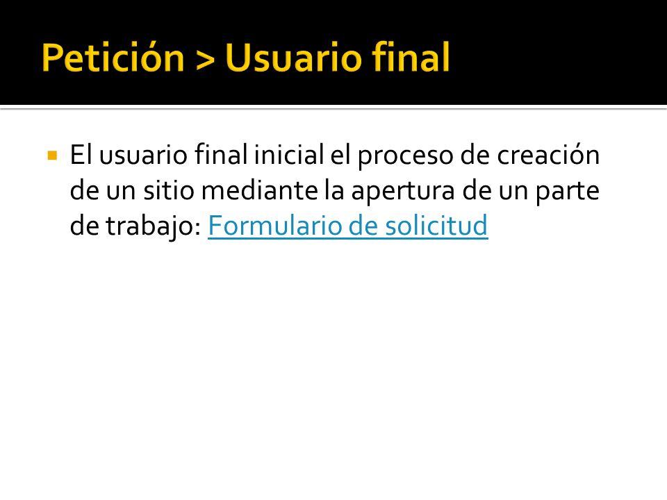 El usuario final inicial el proceso de creación de un sitio mediante la apertura de un parte de trabajo: Formulario de solicitudFormulario de solicitud