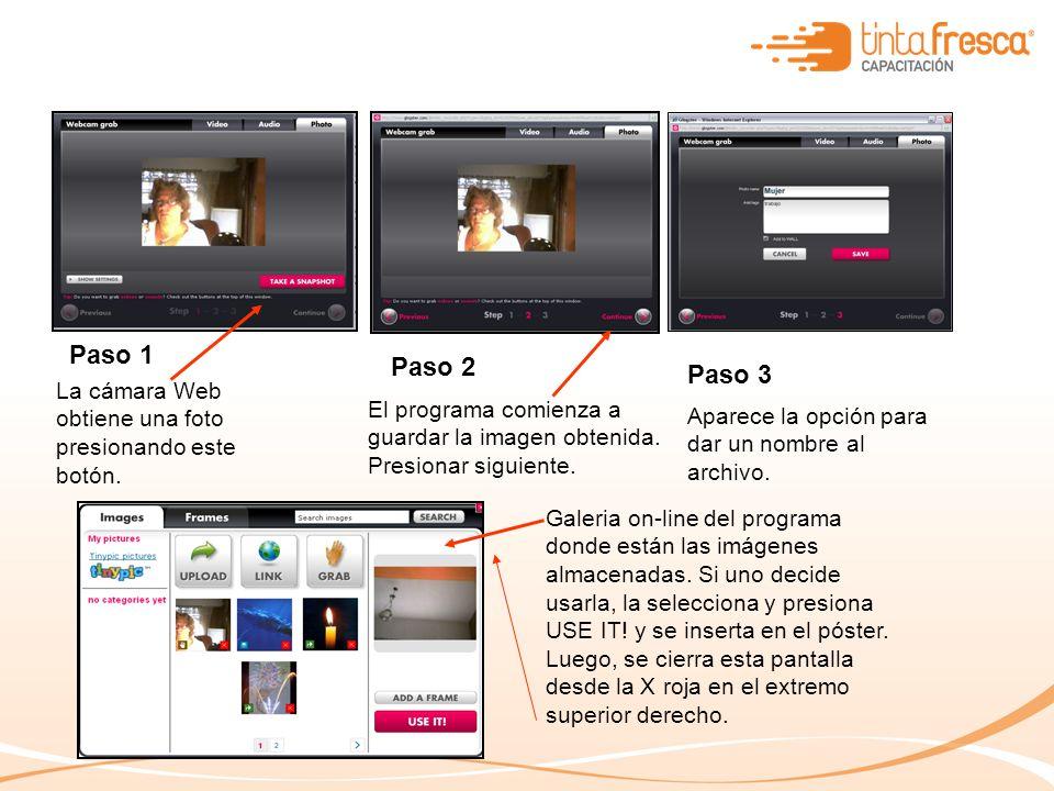 Paso 1 Paso 2 Paso 3 La cámara Web obtiene una foto presionando este botón.