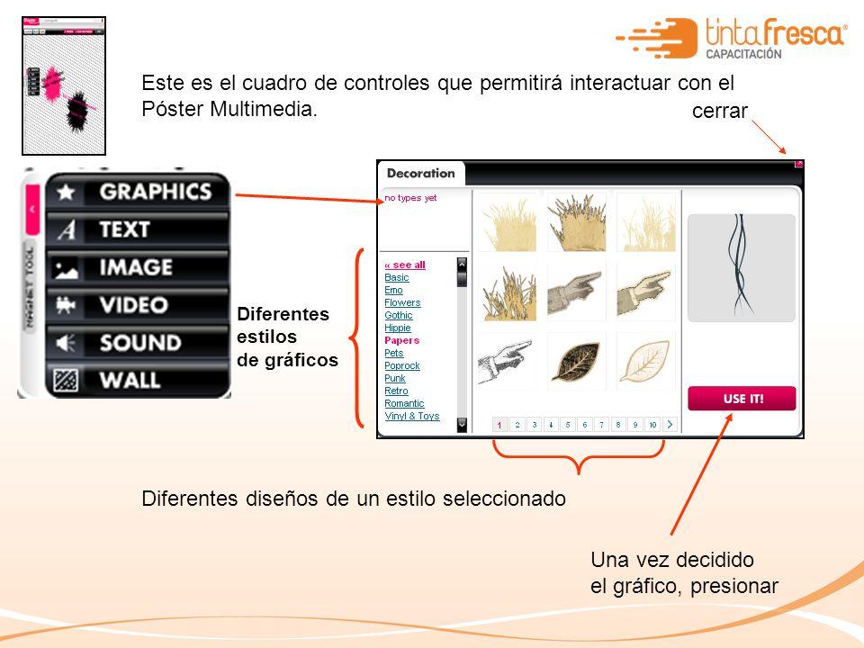 Este es el cuadro de controles que permitirá interactuar con el Póster Multimedia.