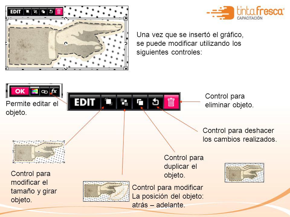Una vez que se insertó el gráfico, se puede modificar utilizando los siguientes controles: Control para modificar el tamaño y girar objeto.