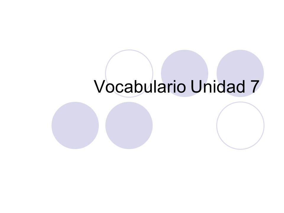 Vocabulario Unidad 7