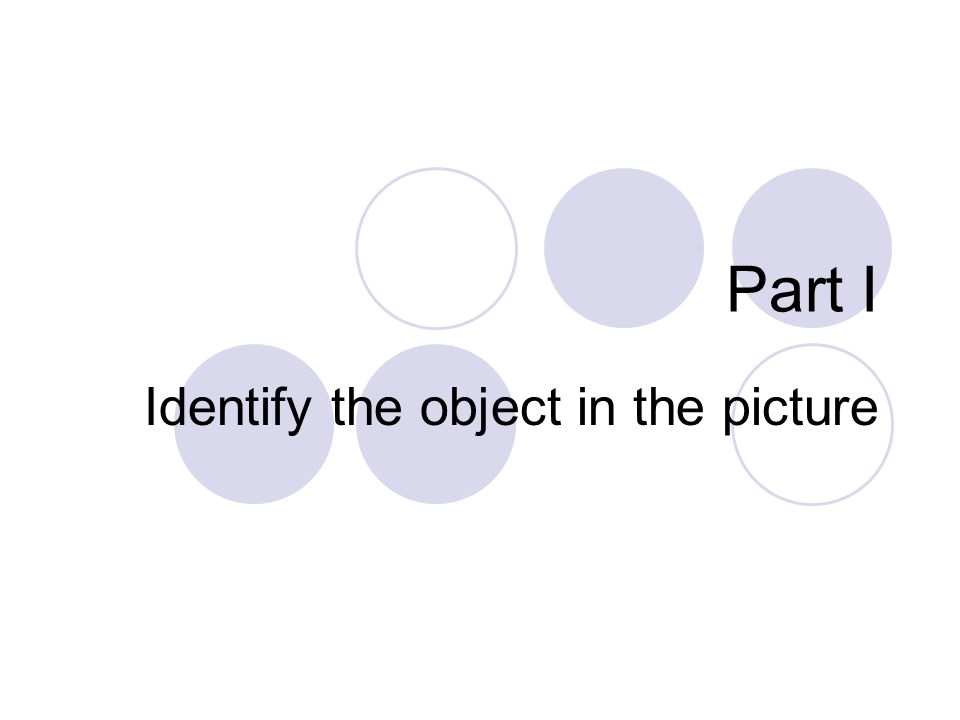 Part I Identify the object in the picture