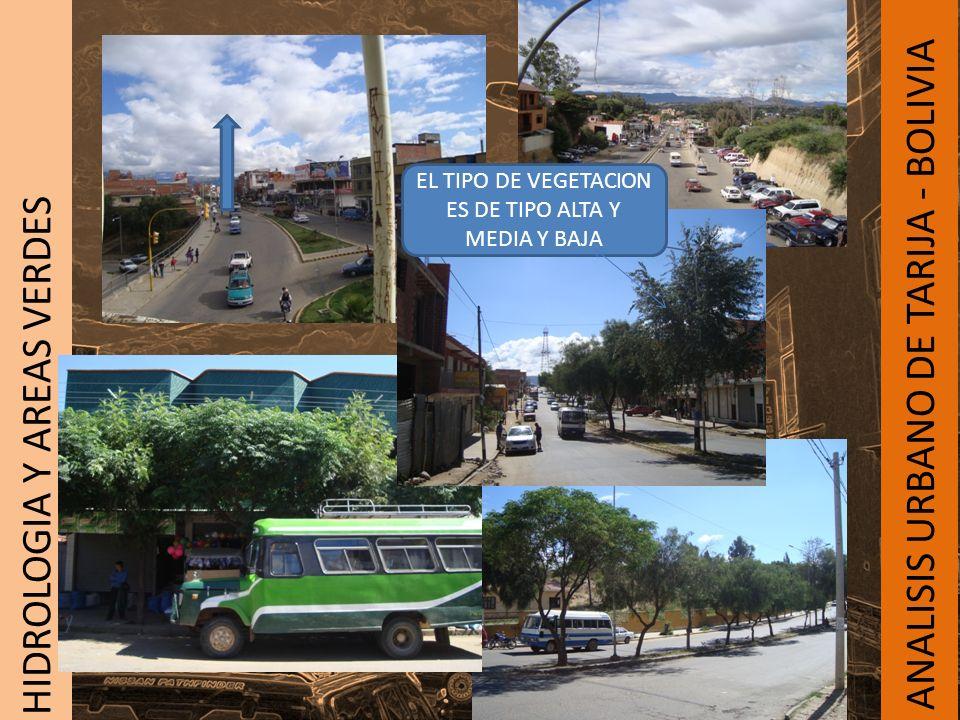 ANALISIS URBANO DE TARIJA - BOLIVIA HIDROLOGIA Y AREAS VERDES EL TIPO DE VEGETACION ES DE TIPO ALTA Y MEDIA Y BAJA