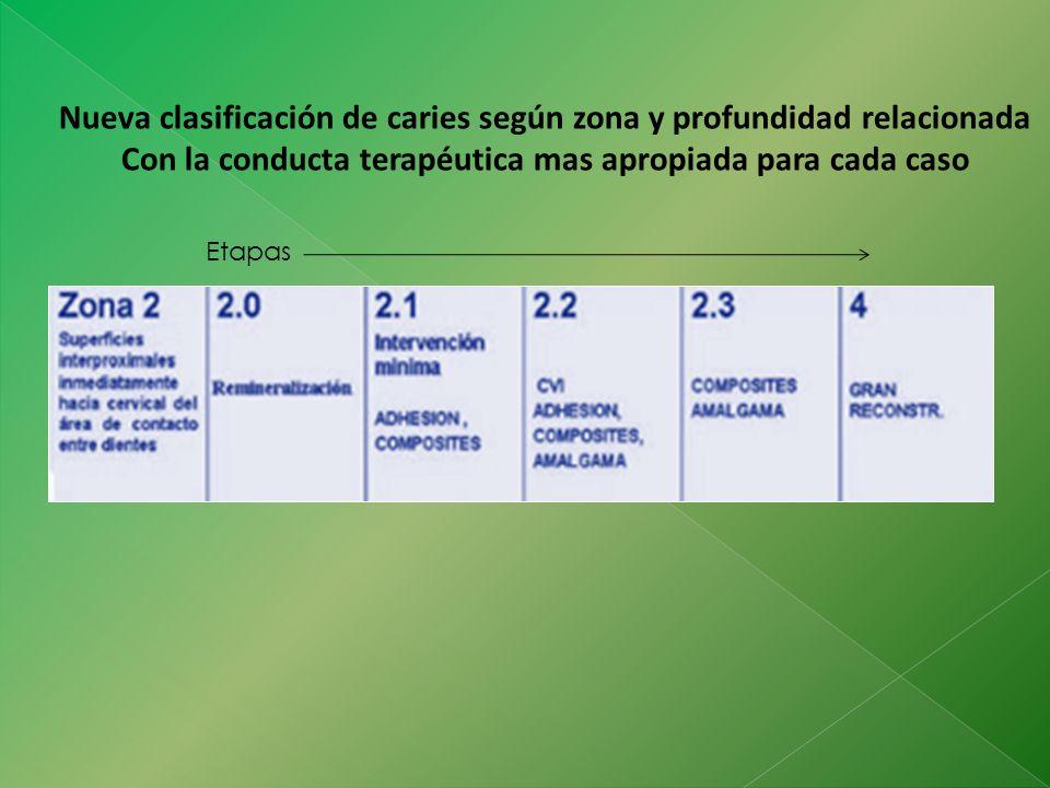Nueva clasificación de caries según zona y profundidad relacionada Con la conducta terapéutica mas apropiada para cada caso Etapas
