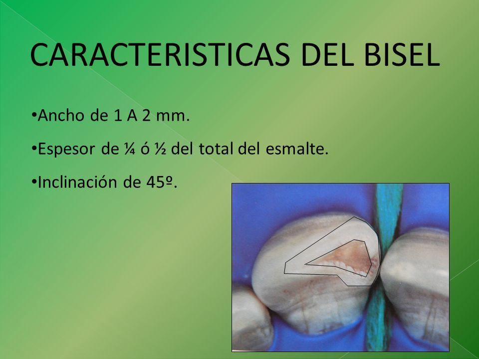 CARACTERISTICAS DEL BISEL Ancho de 1 A 2 mm. Espesor de ¼ ó ½ del total del esmalte. Inclinación de 45º.