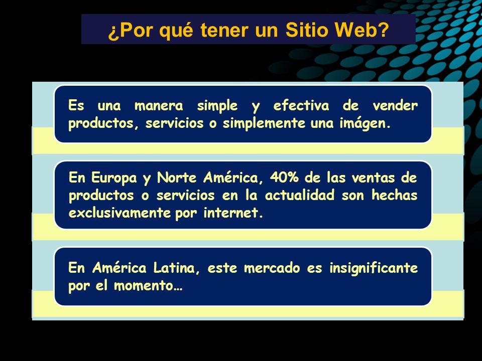 ¿Por qué tener un Sitio Web? Es una manera simple y efectiva de vender productos, servicios o simplemente una imágen. En Europa y Norte América, 40% d