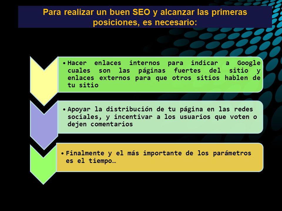 Para realizar un buen SEO y alcanzar las primeras posiciones, es necesario: Hacer enlaces internos para indicar a Google cuales son las páginas fuerte