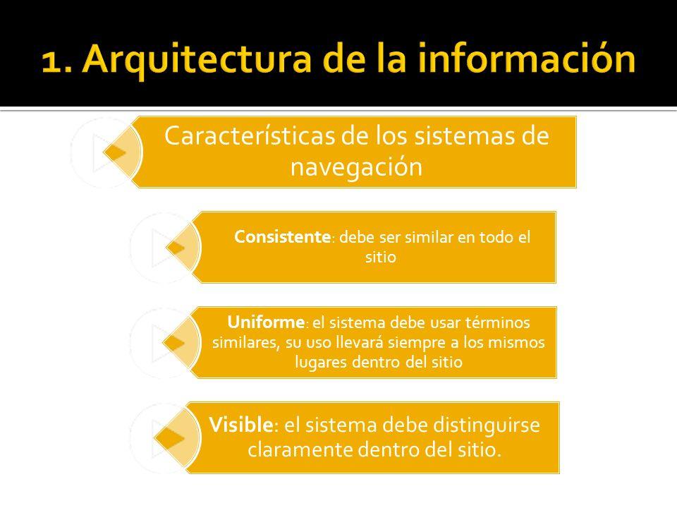 Características de los sistemas de navegación Consistente : debe ser similar en todo el sitio Uniforme : el sistema debe usar términos similares, su u