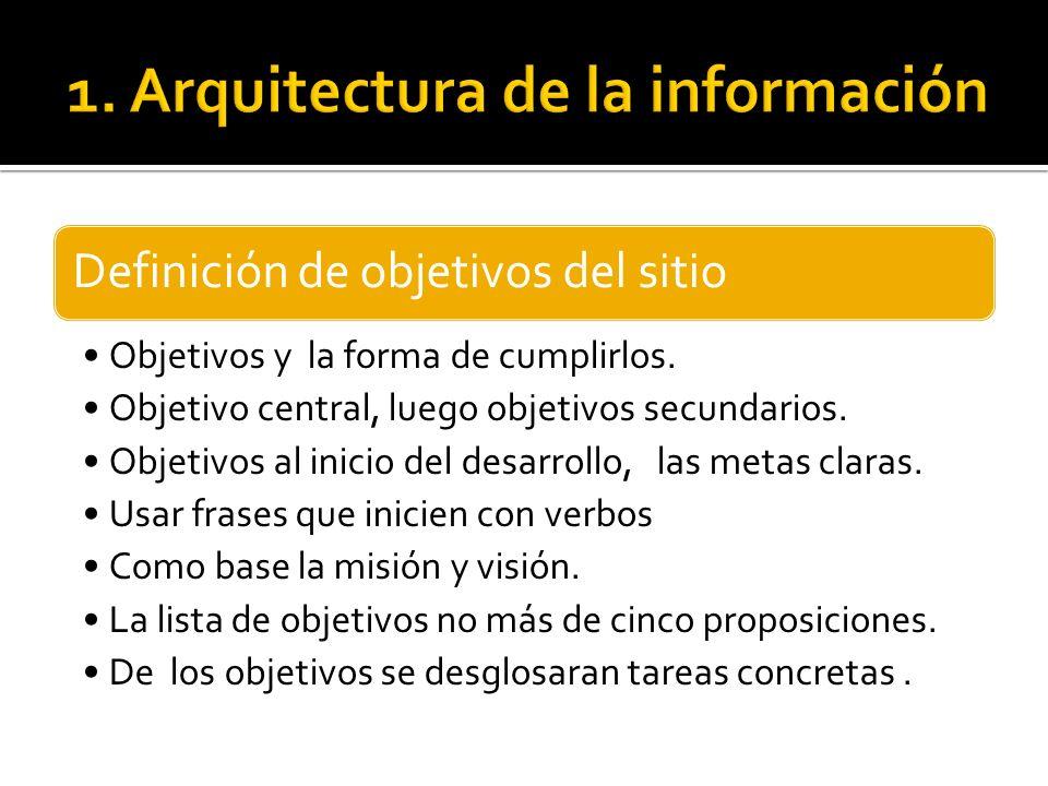 Definición de objetivos del sitio Objetivos y la forma de cumplirlos. Objetivo central, luego objetivos secundarios. Objetivos al inicio del desarroll