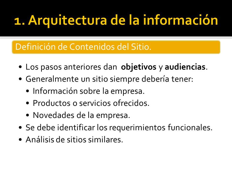 Definición de Contenidos del Sitio. Los pasos anteriores dan objetivos y audiencias. Generalmente un sitio siempre debería tener: Información sobre la