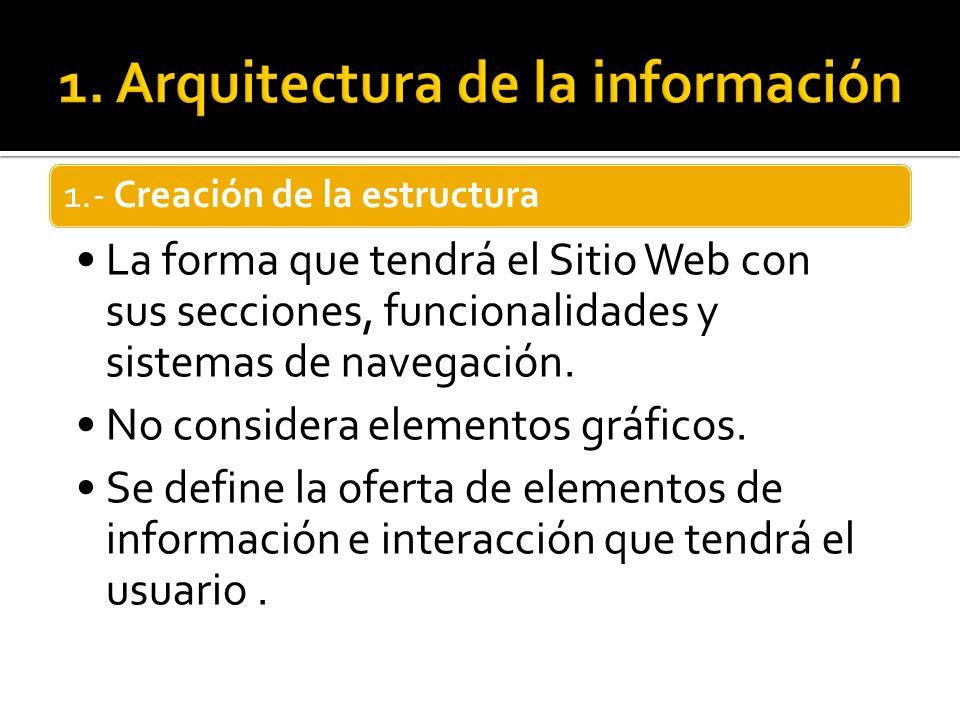 1.- Creación de la estructura La forma que tendrá el Sitio Web con sus secciones, funcionalidades y sistemas de navegación. No considera elementos grá