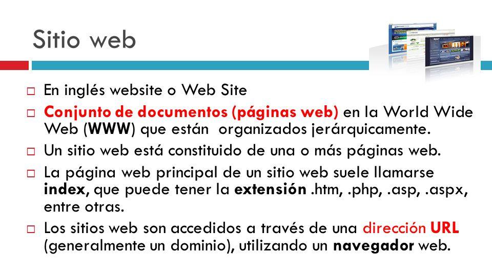 Sitio web En inglés website o Web Site Conjunto de documentos (páginas web) en la World Wide Web (WWW) que están organizados jerárquicamente. Un sitio