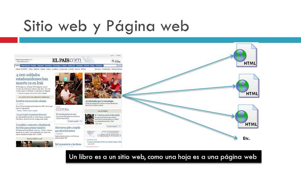Sitio web y Página web Un libro es a un sitio web, como una hoja es a una página web HTML Etc.