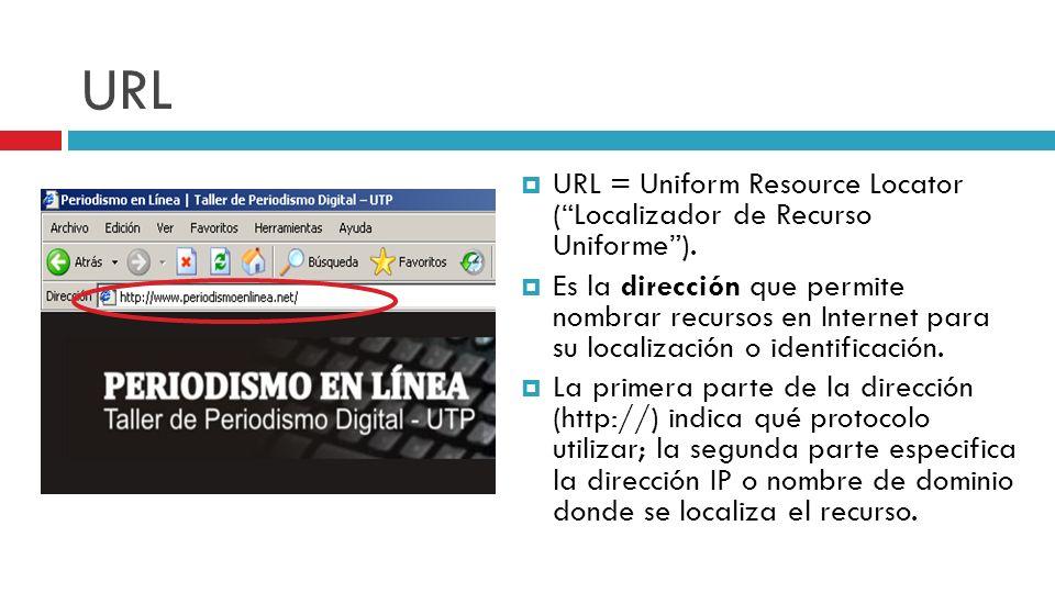 URL URL = Uniform Resource Locator (Localizador de Recurso Uniforme). Es la dirección que permite nombrar recursos en Internet para su localización o