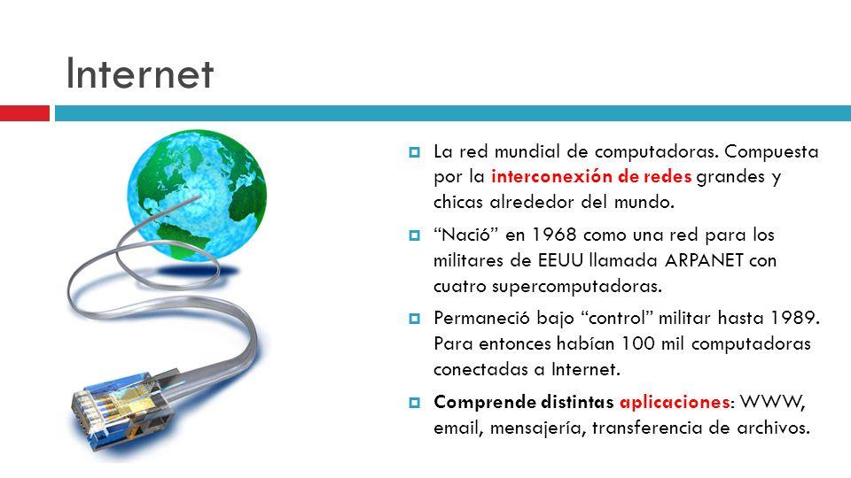 Internet La red mundial de computadoras. Compuesta por la interconexión de redes grandes y chicas alrededor del mundo. Nació en 1968 como una red para