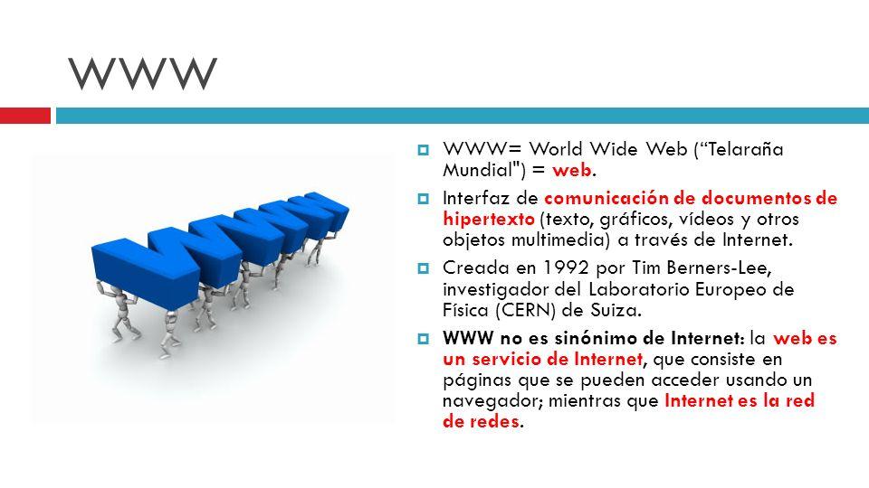 WWW WWW= World Wide Web (Telaraña Mundial