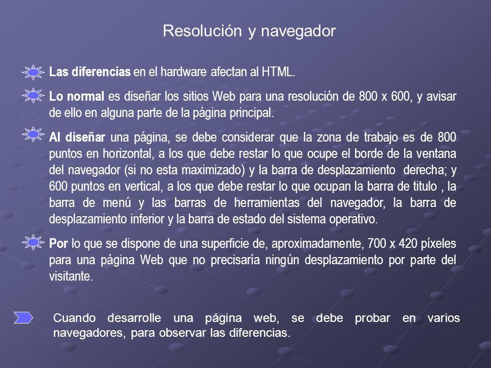Resolución y navegador Las diferencias en el hardware afectan al HTML.