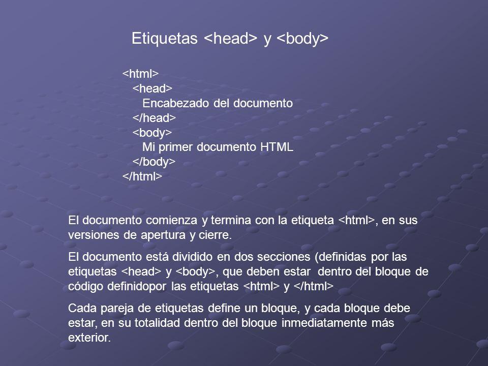 Etiquetas y Encabezado del documento Mi primer documento HTML El documento comienza y termina con la etiqueta, en sus versiones de apertura y cierre.
